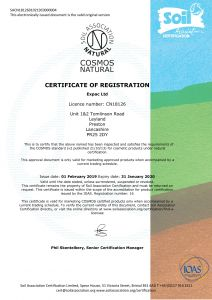 Expac - Soil Association Cosmos Certificate - 2019-1