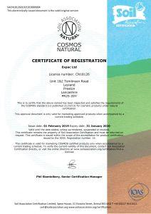 Expac - Soil Association Cosmos Certificate - 2019-1